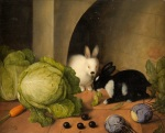bunny rabbits eating carrots and cabbage drawing Johann_Georg_Seitz_Gemüsestilleben_mit_Häschen